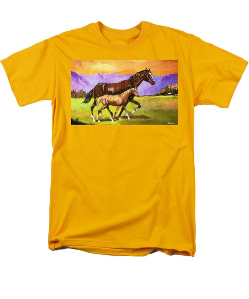 Men's T-Shirt  (Regular Fit) featuring the painting Family Stroll by Al Brown
