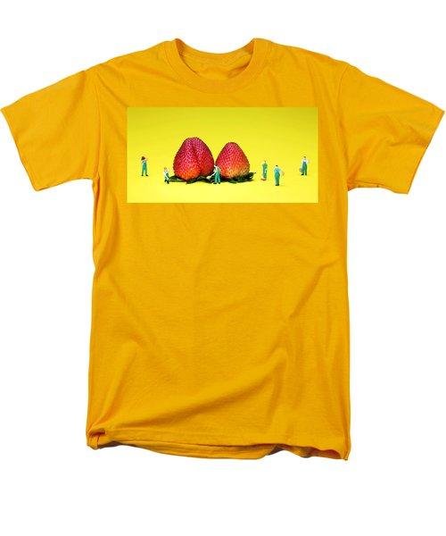 Farmers Working Around Strawberries Men's T-Shirt  (Regular Fit) by Paul Ge