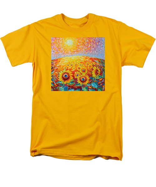 Fields Of Gold - Abstract Landscape With Sunflowers In Sunrise Men's T-Shirt  (Regular Fit) by Ana Maria Edulescu