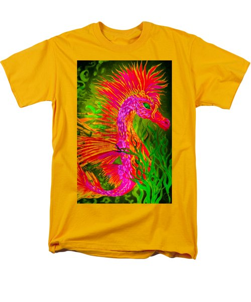 Men's T-Shirt  (Regular Fit) featuring the painting Fiery Sea Horse by Adria Trail