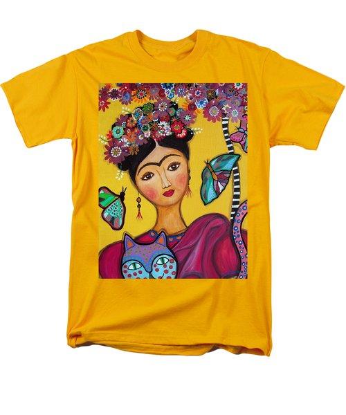 Frida Kahlo And Her Cat Men's T-Shirt  (Regular Fit)