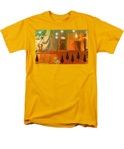 Men's T-Shirt  (Regular Fit) featuring the painting Grandpas House For His Little Peeps by Sherri  Of Palm Springs