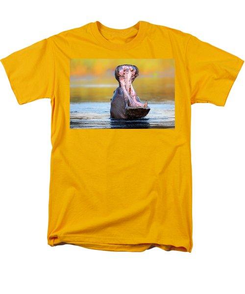 Hippopotamus Displaying Aggressive Behavior Men's T-Shirt  (Regular Fit) by Johan Swanepoel