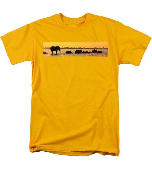 Men's T-Shirt  (Regular Fit) featuring the photograph Kalahari Elephants Crossing Chobe River by Amanda Stadther