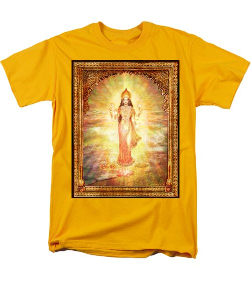 Men's T-Shirt  (Regular Fit) featuring the mixed media Lakshmi The Goddess Of Fortune And Abundance by Ananda Vdovic