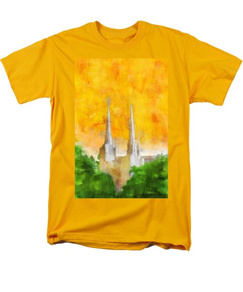 Men's T-Shirt  (Regular Fit) featuring the painting Like A Fire Is Burning by Greg Collins