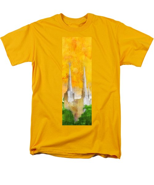 Men's T-Shirt  (Regular Fit) featuring the painting Like A Fire Is Burning - Panoramic by Greg Collins