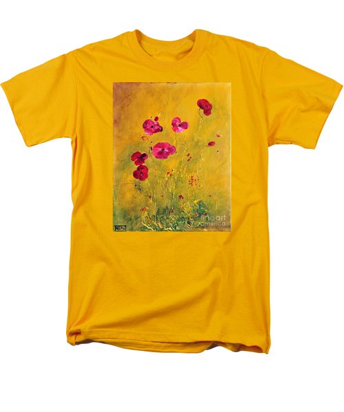 Men's T-Shirt  (Regular Fit) featuring the painting Lonely Poppies by Teresa Wegrzyn