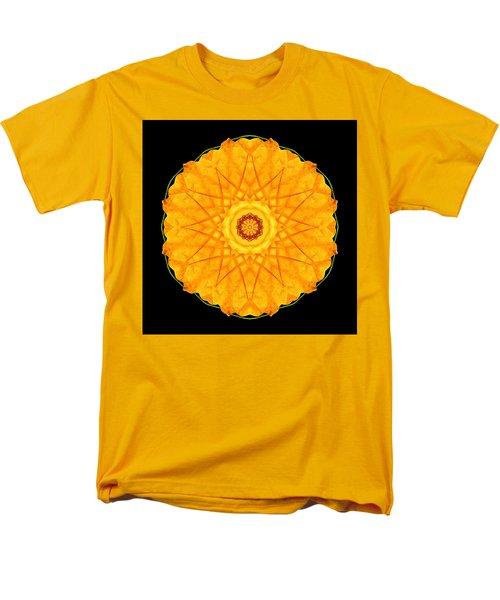 Men's T-Shirt  (Regular Fit) featuring the photograph Orange Nasturtium Flower Mandala by David J Bookbinder