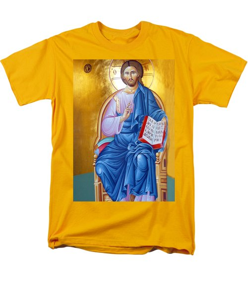 Orthodox Icon Of Jesus In Blue Men's T-Shirt  (Regular Fit) by Munir Alawi