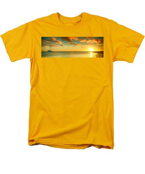 Panoramic Photo Sunrise At Monky Mia Men's T-Shirt  (Regular Fit) by Yew Kwang