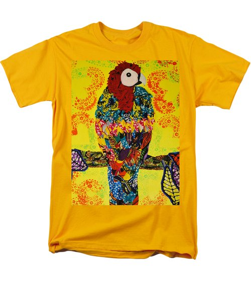 Men's T-Shirt  (Regular Fit) featuring the tapestry - textile Parrot Oshun by Apanaki Temitayo M