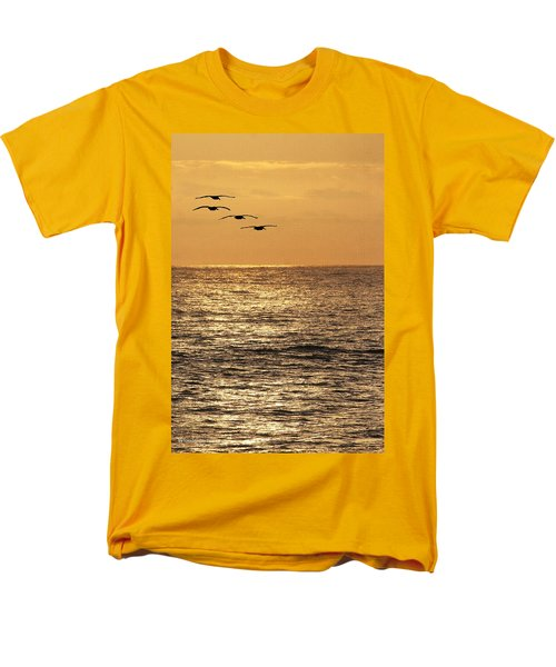 Men's T-Shirt  (Regular Fit) featuring the photograph Pelicans Ocean And Sunsetting by Tom Janca