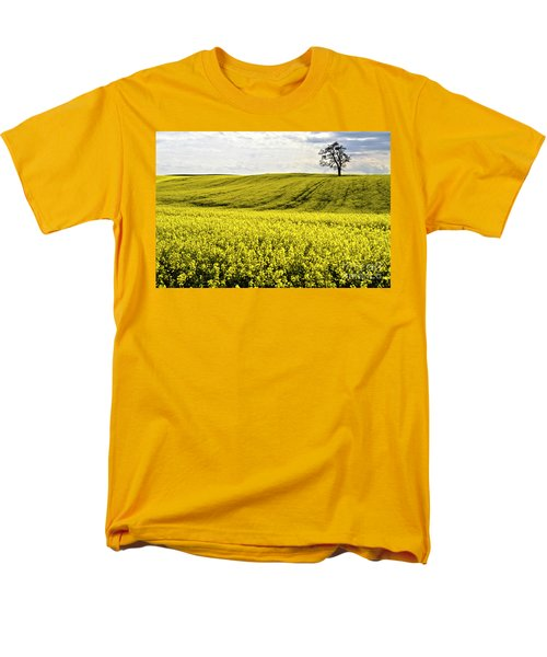 Rape Landscape With Lonely Tree Men's T-Shirt  (Regular Fit) by Heiko Koehrer-Wagner
