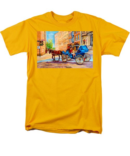 Men's T-Shirt  (Regular Fit) featuring the painting Rue Notre Dame Caleche Ride by Carole Spandau