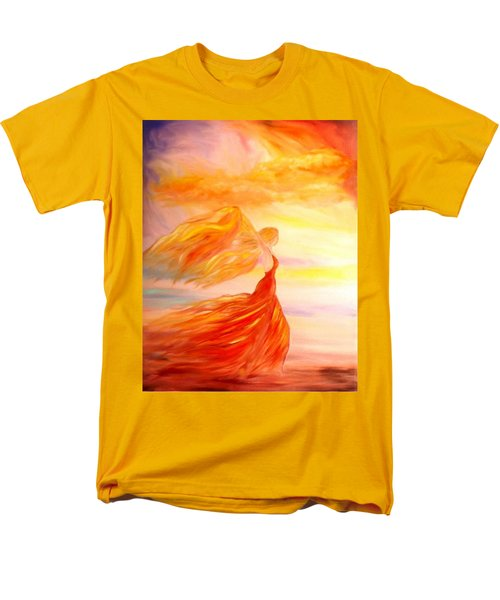 Men's T-Shirt  (Regular Fit) featuring the painting Running Along The Beach by Lilia D