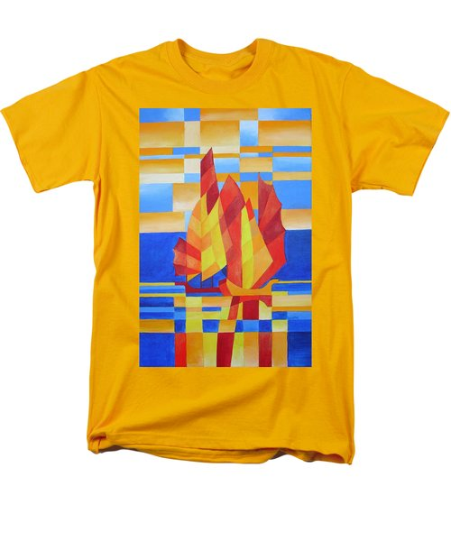 Men's T-Shirt  (Regular Fit) featuring the painting Sailing On The Seven Seas So Blue by Tracey Harrington-Simpson
