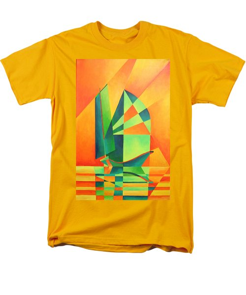 Men's T-Shirt  (Regular Fit) featuring the painting Sails At Sunrise by Tracey Harrington-Simpson