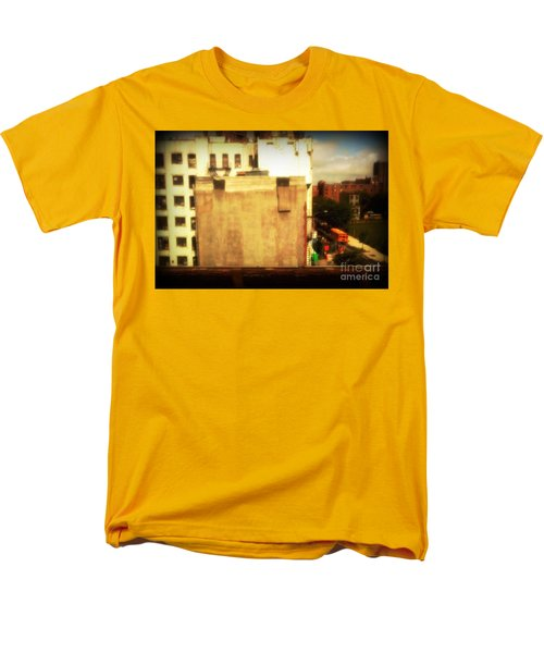 Men's T-Shirt  (Regular Fit) featuring the photograph School Bus With White Building by Miriam Danar