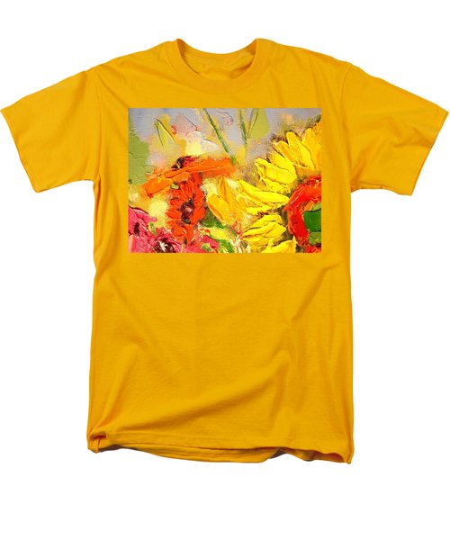 Men's T-Shirt  (Regular Fit) featuring the painting Sunflower Detail by Ana Maria Edulescu