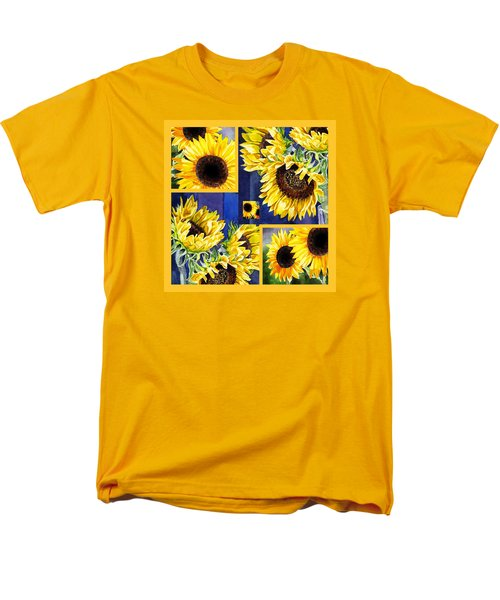 Men's T-Shirt  (Regular Fit) featuring the painting Sunflowers Sunny Collage by Irina Sztukowski