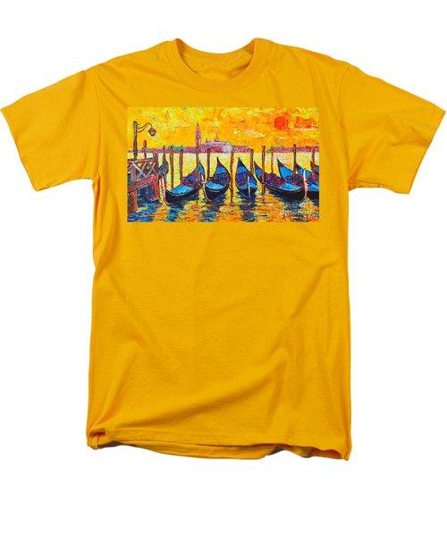 Sunrise In Venice Italy Gondolas And San Giorgio Maggiore Men's T-Shirt  (Regular Fit) by Ana Maria Edulescu