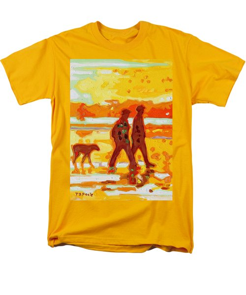Sunset Silhouette Carmel Beach With Dog Men's T-Shirt  (Regular Fit) by Thomas Bertram POOLE