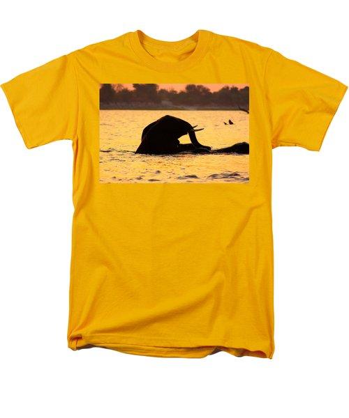 Men's T-Shirt  (Regular Fit) featuring the photograph Swimming Kalahari Elephants by Amanda Stadther