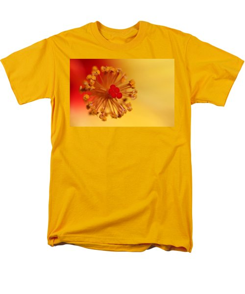 Men's T-Shirt  (Regular Fit) featuring the photograph The Center Of The Hibiscus Flower by Debbie Oppermann