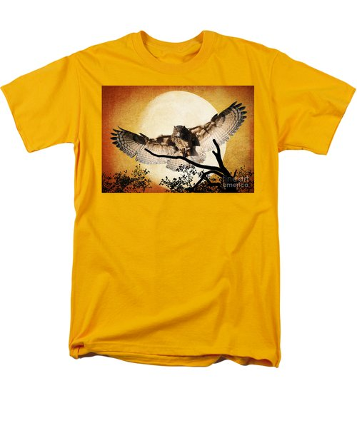 Men's T-Shirt  (Regular Fit) featuring the photograph The Eurasian Eagle Owl And The Moon by Kathy Baccari