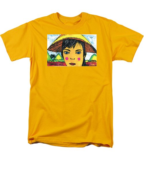 Men's T-Shirt  (Regular Fit) featuring the drawing Vietnamese Girl  With Blue Eyes by Don Koester