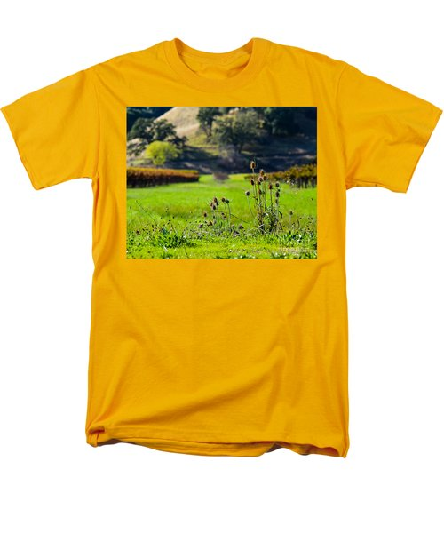 Men's T-Shirt  (Regular Fit) featuring the photograph Vineyard Thistles by CML Brown