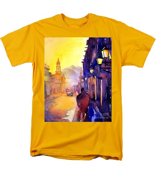 Watercolor Painting Of Street And Church Morelia Mexico Men's T-Shirt  (Regular Fit)