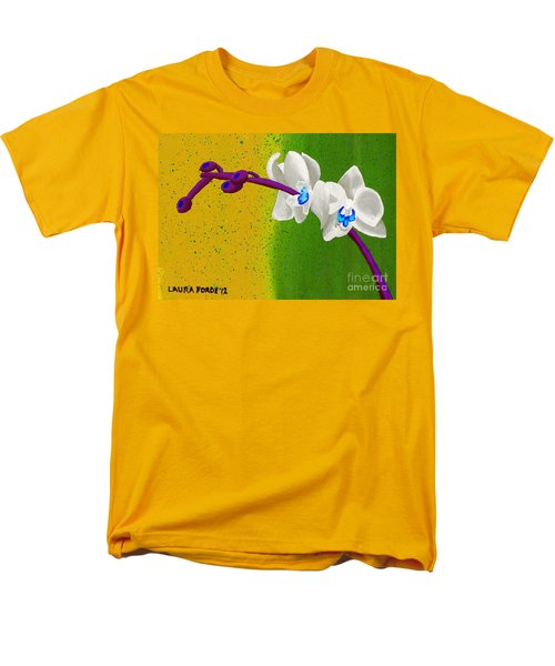 White Orchids On Yellow And Green Men's T-Shirt  (Regular Fit) by Laura Forde