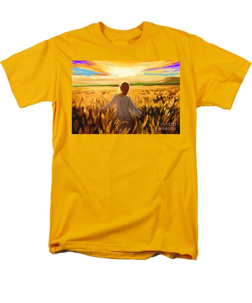 Woman In A Wheat Field Men's T-Shirt  (Regular Fit) by Tim Gilliland
