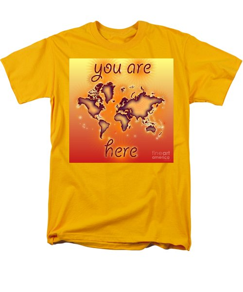World Map You Are Here Amuza In Red Yellow And Orange Men's T-Shirt  (Regular Fit) by Eleven Corners