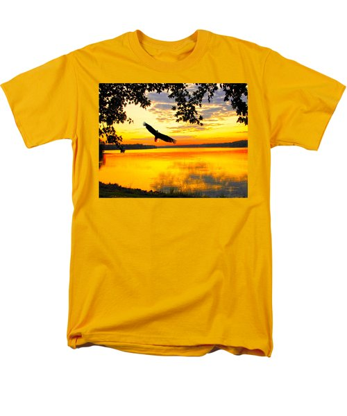 Men's T-Shirt  (Regular Fit) featuring the photograph Eagle At Sunset by Randall Branham