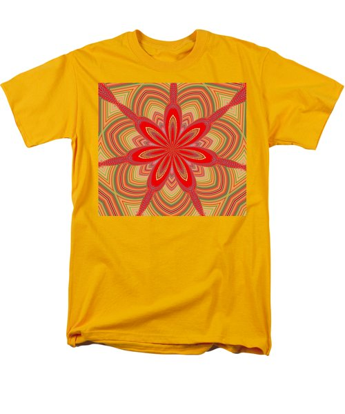 Men's T-Shirt  (Regular Fit) featuring the digital art Red Star Brocade by Alec Drake