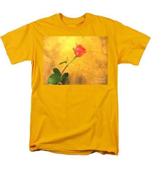 Men's T-Shirt  (Regular Fit) featuring the photograph Rose On Leather by Susan Carella