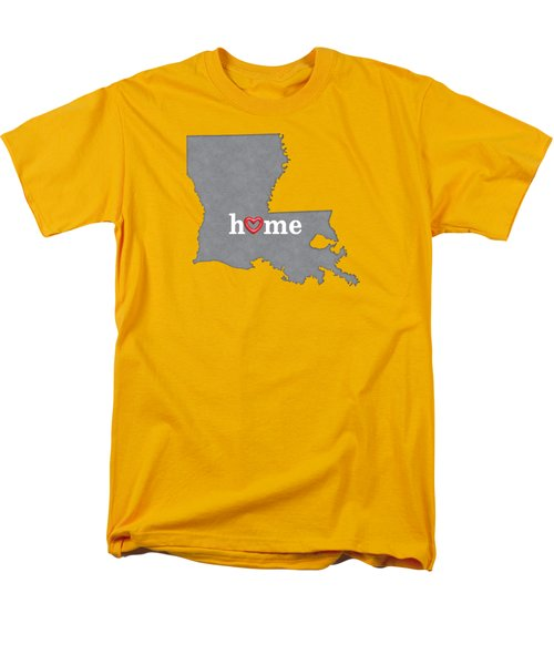 State Map Outline Louisiana With Heart In Home Men's T-Shirt  (Regular Fit) by Elaine Plesser