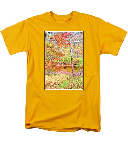 Men's T-Shirt  (Regular Fit) featuring the photograph  Woods In Autumn Montgomery Cty Pennsylvania by A Gurmankin