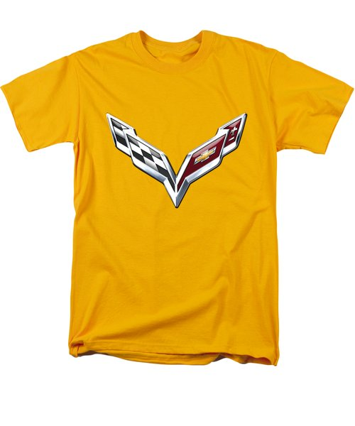 Chevrolet Corvette 3d Badge On Yellow Men's T-Shirt  (Regular Fit) by Serge Averbukh