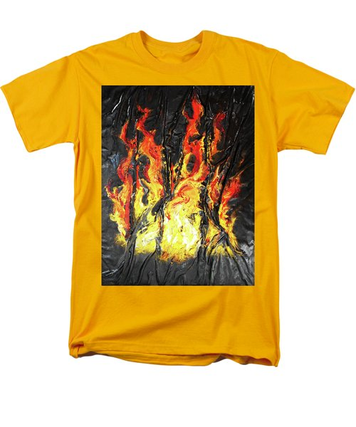 Men's T-Shirt  (Regular Fit) featuring the mixed media Fire Too by Angela Stout