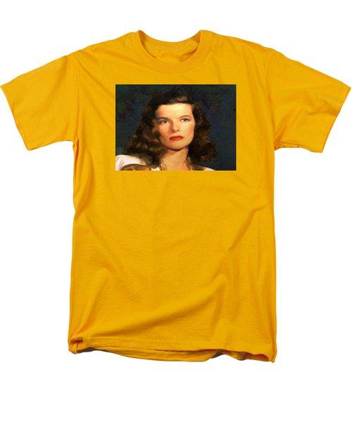 Men's T-Shirt  (Regular Fit) featuring the digital art Portrait Of Katherine Hepburn by Charmaine Zoe