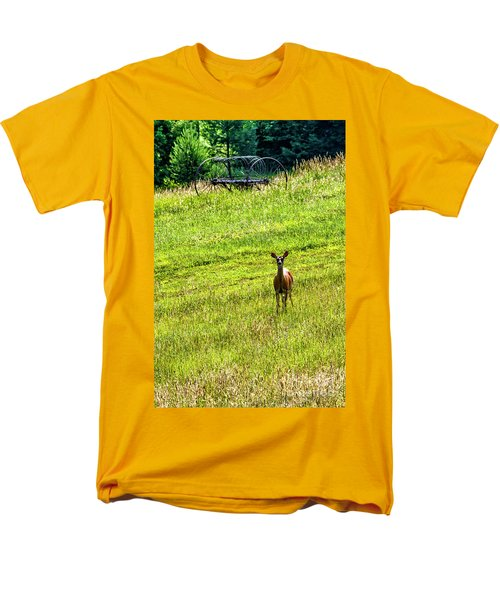 Men's T-Shirt  (Regular Fit) featuring the photograph Whitetail Deer And Hay Rake by Thomas R Fletcher