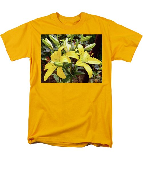 Men's T-Shirt  (Regular Fit) featuring the photograph Yellow Lily by Elvira Ladocki