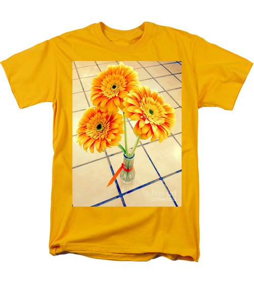 Men's T-Shirt  (Regular Fit) featuring the photograph 3 Golden Yellow Daisies Gift To My Beautiful Wife Suffering With No Hair Suffering Frombreast Cancer by Richard W Linford