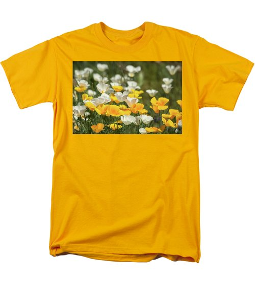 Men's T-Shirt  (Regular Fit) featuring the photograph A Field Of Golden And White Poppies  by Saija Lehtonen