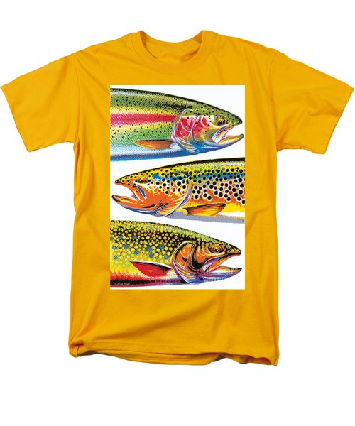 Men's T-Shirt  (Regular Fit) featuring the painting Abstract Trout by JQ Licensing Jon Q Wright