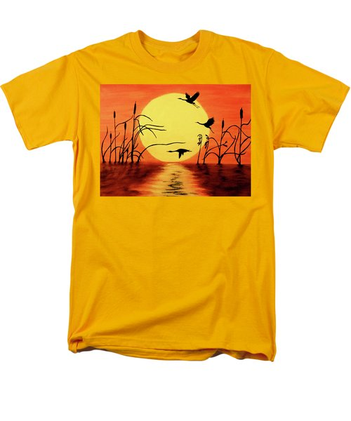 Men's T-Shirt  (Regular Fit) featuring the painting Sunset Geese by Teresa Wing